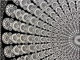 WORLD WIDE KART Weltkarte, Auto, Design, Schwarz & Weiß, Pfau, Mandala-Wandteppich/-Tagesdecke, Picknick-Decke, Tagesdecke, Ethno-Dekoration, 85x 85cm