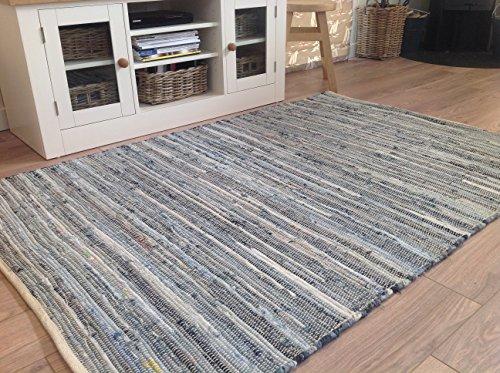 Fabulous Blue Denim Chindi Rag Rug 90cm x 150cm by Second Nature Online (Rag Rug)