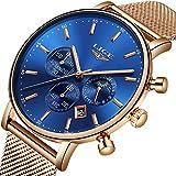 Relojes para Hombres,LIGE Acero Inoxidable Impermeable Banda de Malla Milanesa Analógico de Cuarzo Reloj Cronógrafo Fase Lunar Fecha Moda Casual Relojes de Pulsera Rosa Oro Azul