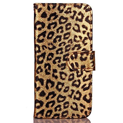 EKINHUI Case Cover Für Apple IPhone 6 6s Fall-Abdeckung, Leopard-Muster-Schlag-Standplatz PU-lederner Kasten mit Halter u. Mappen-Karte Bargeld-Schlitze u. Foto-Rahmen ( Color : Rose ) Gold