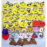 SYOO 45pcs Mini Emoji Key Chain Diámetro 5cm Smileys Plush Pillow Style Bag colgante, regalo para el cumpleaños fiesta de los niños Baby Shower Garden Party