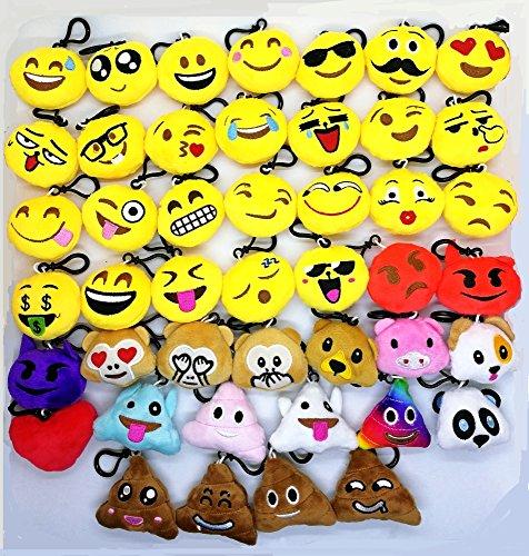 Syoo 45pcs mini emoji portachiavi diametro 5 cm smiley peluche stile cuscino pendente, regalo per il compleanno bambini festa baby shower garden party