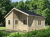 Wochenendhaus Prunus P6 inkl. Fußboden, naturbelassen - 70 mm Blockbohlenhaus, Grundfläche: 24 m² mit 5,20 m² Terrasse, Satteldach