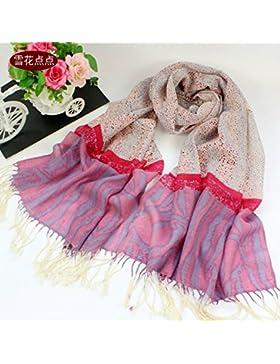 FLYRCX Suave y cómodo cálido chal bufanda de lana largo damas 190cmx70cm,X