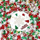GWHOLE Confeti Navidad de Colores 100g / 4800 Unidades de Forma Papá Noel Copos de Nieve Estrellas Árbol de navidad Alces, Adornos Navidad Globo Decoraciones