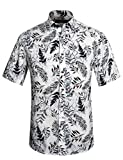 APTRO Men's Cotton Button Down Shirt Flower Print Short Sleeve Floral Shirt 1026 White S