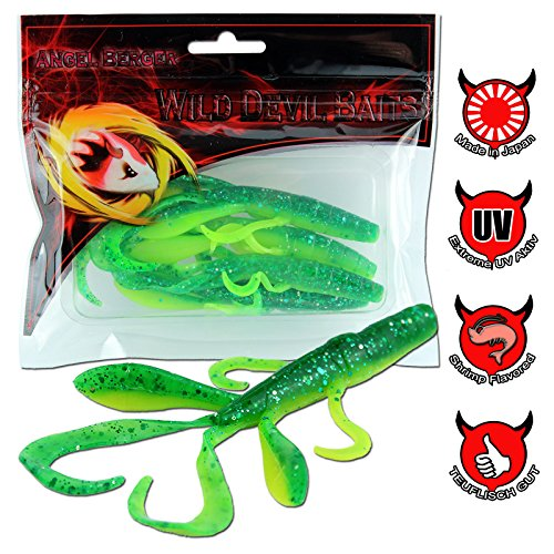 Angel-Berger Wild Devil Baits Crawler Krebs Gummifisch (Green Flash, 9.5cm)