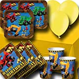 Truck And Diggers Party Pack for 8 - Plates, Cups, Napkins, Balloons and Tablecover