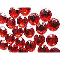 Gemas de imitación de acrílico rojo rubí, 120 unidades, 12 mm, superficie facetada redonda, parte trasera plana, coser