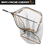 Savage Gear Pro Folding Rubber Large Mesh Landing Net L (65x50cm) Kescher, Angelkescher,...