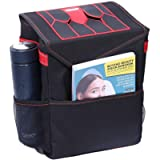 MAXTUF Car Trash Bin, Auto Garbage Bag with Lid Hanging for Headrest with Strap and 3 Storage Pocket, Collapsible…