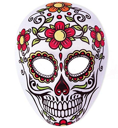 Party-Chic Halbmaske mexikanischer Totentag, Blumen orange/rot -