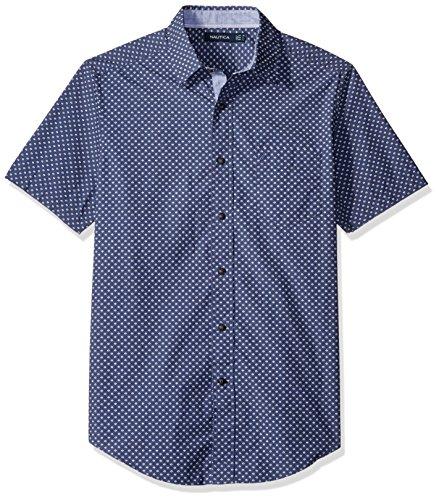 nautica-print-classic-fit-chemise-casual-homme-bleu-indigo-xl