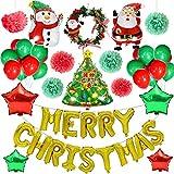 Decorazione per festa di Natale forniture,Yansion 48PCS decorazione natalizia con albero di Natale Babbo Natale pupazzo di neve Merry Christmas Letter Star foil palloncini