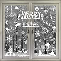 VEYLIN 104 Static Snow Flakes Stickers Merry Christmas Snowflakes Window Clings for Xmas Window Display - Static PVC Stickers