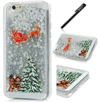 "WeLoveCase iPhone 6 Custodia iPhone 6s 4.7"" Christmas Present , Tree , Santa Claus / Babbo Natale Case per Apple iPhone 6 / 6S 4.7 Pollici Cover Trasparente Crystal Clear 3D Floating Quicksand Glitter Bling Diamond Strass Ultra Slim Protettiva Bumper Caso Plastic Hard Back Skin Protezione + Screen Touch Stylus Pen - Stella Argento"