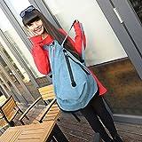 Female Bag Canvas Shoulder Neutral Travel Bag Student Bag Large Capacity Male Bag , lake blue