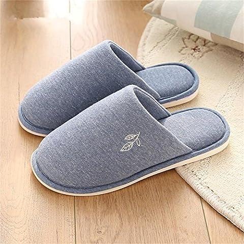 Men 's Home Chaussons d'intérieur thermique non–Slip Chaussons en coton, 2, petite