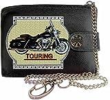 HARLEY DAVIDSON TOURING Image sur portefeuille RFID pour hommes de marque KLASSEK vrai cuir avec chaîne Moto Bike cadeau d'accessoire avec boîte en métal produit HARLEY DAVIDSON Non officiel