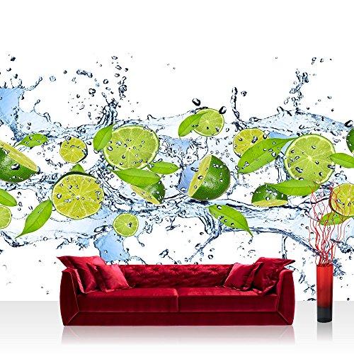 Vlies Fototapete 350x245 cm PREMIUM PLUS Wand Foto Tapete Wand Bild Vliestapete - Kulinarisches Tapete Limetten Wasser Blätter Tropfen Obst Frucht grün - no. 864