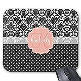 Elegant Schwarz & Weiß Damast Pink Girly Monogramm Maus Pad