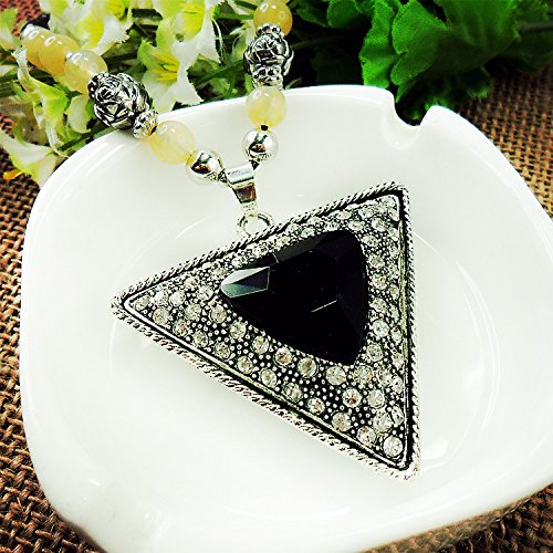 Beautiful Bead Black Crystal Rhinestones Triangular Pendant Necklace Sweater Chain for Teen Girls(1Pcs)