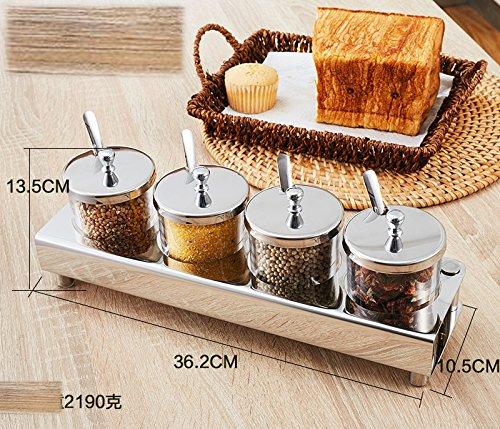 V.JUST Spice Box und High-End-Küche Glas Edelstahl Gewürzglas