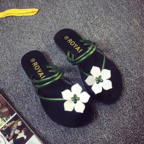 Sandali della Boemia delle donne donne Vovotrade Fiore Weave Beach Peep-Toe Infradito Scarpe Pantofole Verde