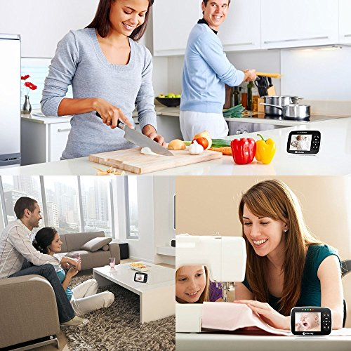 Baby Monitor with Camera, 3.5 Inch, 2.4GHz Digital Baby Monitor, Cookjoy Wireless Video Baby Monitor with Large LCD Screen, 2 Way Auto Talk Night Vision Temperature Monitoring Display Lullabies Play  CookJoy