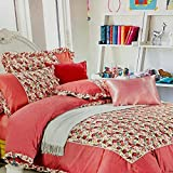 Refinish Home Vintage Blossom Collection Orange Colour Glace Cotton Floral 108x108 In. (274x274cm)(9ft By 9ft) Super King Size Splendid Double Bed Sheet With 2 Pillow Covers Under 2000