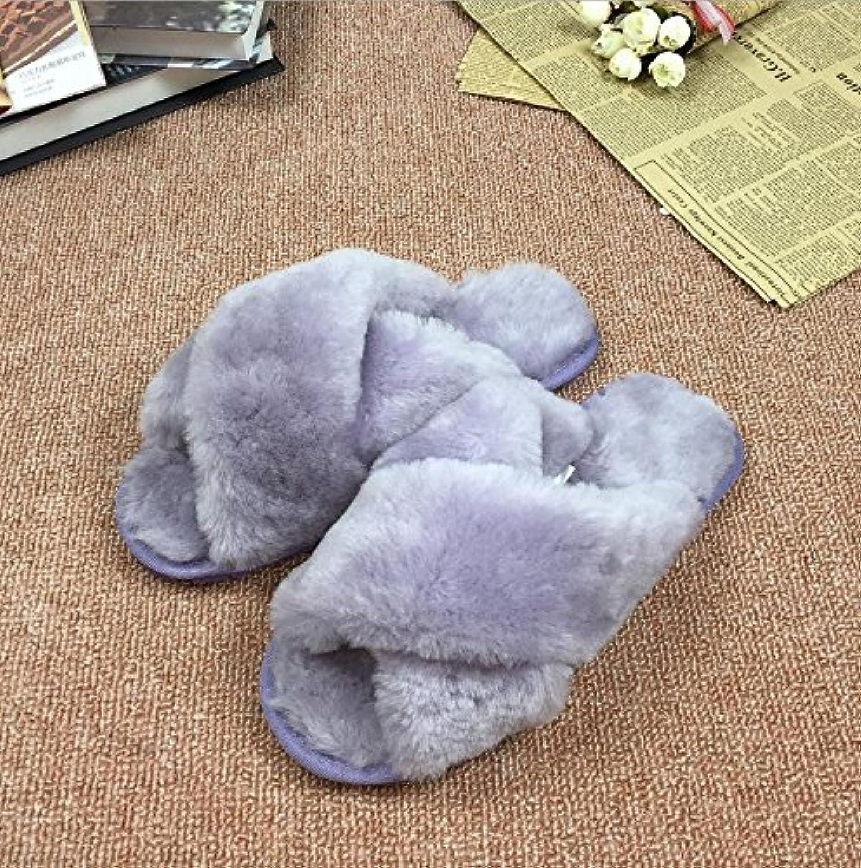 Mhgao Mhgao Mhgao pecora pelliccia pantofole a casa in autunno e in inverno caldo Fuzzy pantofole donna, porpora, 40 | Prezzo speciale  3e12b3