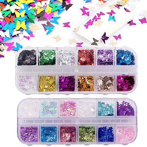 24 Farbe/Satz 3D Schmetterling Nagel Glitter Pailletten, Kalolary Splarkly Laser Nagel Pailletten Acryl Pailletten Holographische Nagel Art Aufkleber Maniküre bilden -