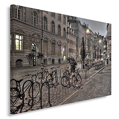 Feeby. Wandbild - 1 Teilig - 80x120 cm, Leinwand Bild Leinwandbilder Bilder Wandbilder Kunstdruck, FREIBURG, ARCHITEKTUR, STADT, BRAUN