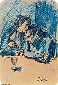 Huile sur toile - 14 x 20 inches / 36 x 51 CM - Pablo Picasso - Couple et enfant au café