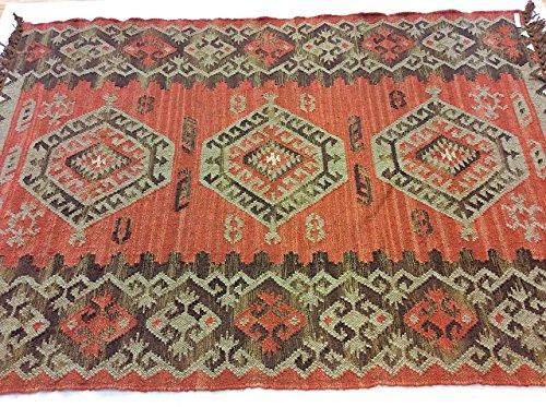 Genuine ruggine tribale geometrico caucasian design fatto a mano 100% lana reversibile, misura nomadi tappeti runner, 100% lana, red, large 120x180cm - 4'x6'