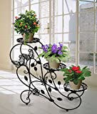 Meubles De Salon Best Deals - HLC-Noir Porte Pots Plante Fleurs 3 Etagere Support Jardin en Metal Fer