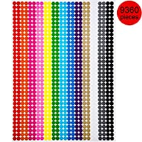 Boao Colored Round Dot Stickers Circle Dot Labels, Neon Colors Labels (9360 Pieces, 6 mm)