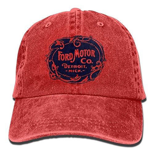 KCOUU Vintage Ford Motor Company Detroit Retro Adjustable Travel Cotton Washed Denim Caps Natural