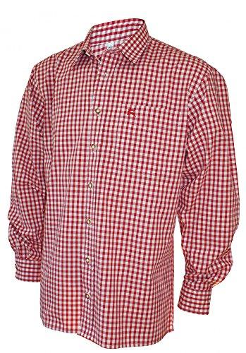 S-6XL 37-54cm Trachtenhemd Karo-Hemd Trachten-Pfoadl Karohemd rot kariert Tracht, Größe:53/54 = 6XL (Brown-streifen-hemd)