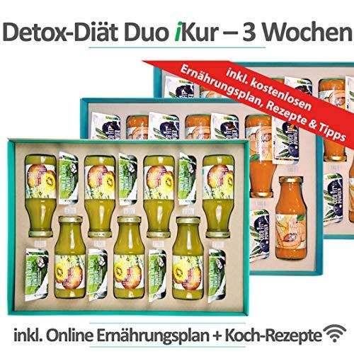 Cleansing Diät Duo 3 Wochen Kur | Effektiv Cleansing & Abnehmen | 100% Vegan | 84 gesunde Produkte | 4 Produkte/Tag | inkl. basischer Ernährungsplan