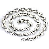 Aurstore® - Catena da uomo in acciaio inossidabile, maglia a chicchi di caffè, colore a scelta, 11 mm, 56 cm
