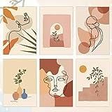 RMENOOR 6 Pcs Affiche d'art de ligne abstraite Impressions d'art mural minimaliste Déco de chambre esthétique moderne Affiche