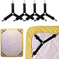 RKPM Bed Sheet Fasteners, 4 PCS Adjustable Triangle Elastic Suspenders Gripper Holder Straps Clip for Bed Sheets,Mattress Covers, Sofa Cushion (4 Pack-Short) Black