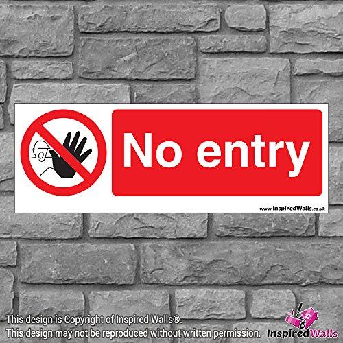 2x No Entry 5?Gesundheit & Sicherheit Warnung Verbot Schild Aufkleber -