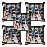 meSleep Pistole Digital Bedruckt Kissenbezug Set von 5 Stück Weiß Sofa Taille Wurf Dekorative Kissenbezug Für Sofa, Bett, Stuhl