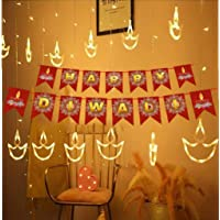 DesiDiya® Warm White Diya/Diwali Light Curtain, String Lights with 12 Hanging Diyas, 8 Flashing Modes, Decoration…