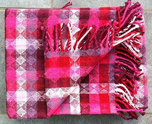 Wohndecke Picnic - Kuscheldecke Raute pink mit Fransen 150 x 200 cm