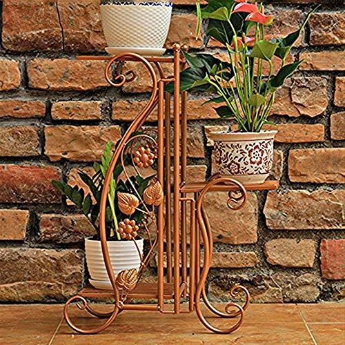 IU Desert Rose Meubles de Salon Modernes Stand de Fleurs GJ en Fer forgé Balcon Salon Intérieur Pot de Fleurs Multifonctionnel Stand de Plantes (Couleur: Or, Taille: L42.5CM * W27CM * H68.5CM)