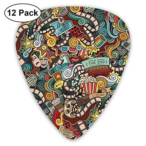 ectrum (0.46mm-0.96mm), Cinema Items Combined In An Abstract Style Popcorn Movie Reel The End Theatre Masks,For Your Guitar or Ukulele ()