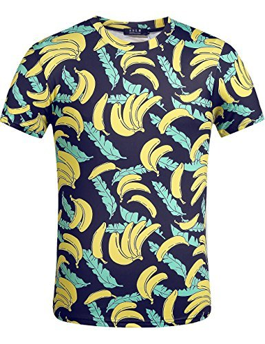 edruckt Hawaii Style Kurzarm Casual T-Shirts (Large, Gelb) (Halloween-t-shirt-praktisch,)